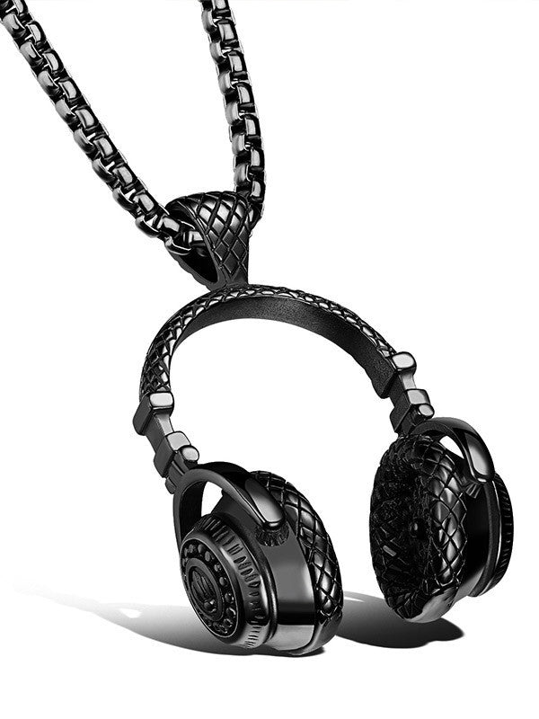 Men Titanium Steel Headphone Pendant Music Necklace