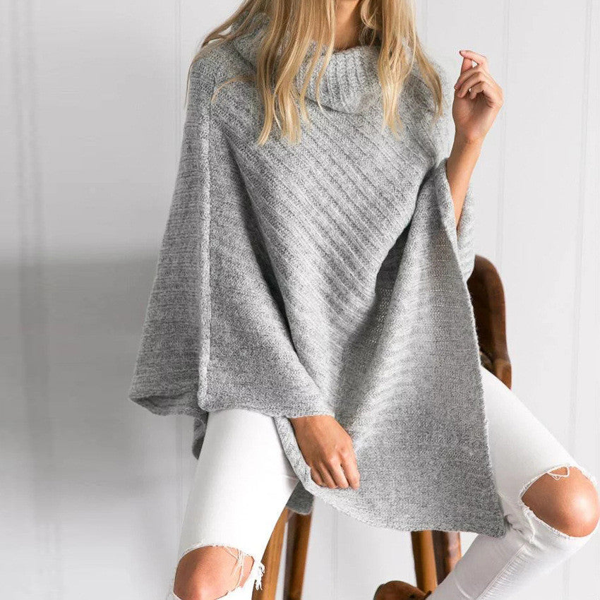 On the Fly Cape Turtleneck Sweater - FIREVOGUE