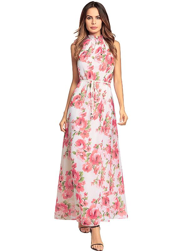 Women Sex Halter Floral Maxi Dress