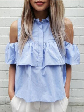 All-match Strapless Loose Casual Shirt - WealFeel