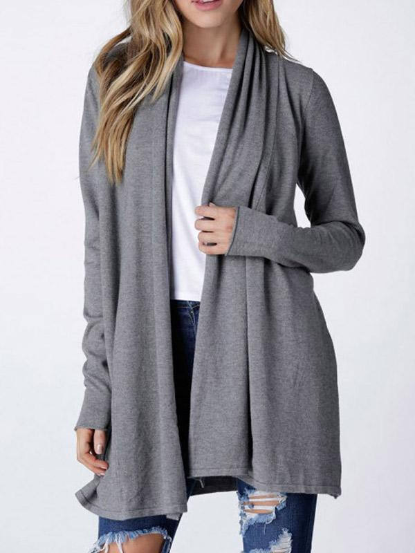Womens Open Front Long Sleeve Cardigan