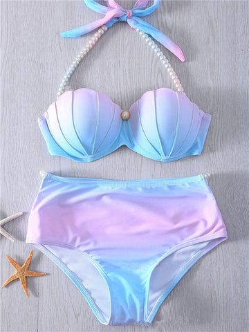 Colored Shell-like Gradient Bikini Set