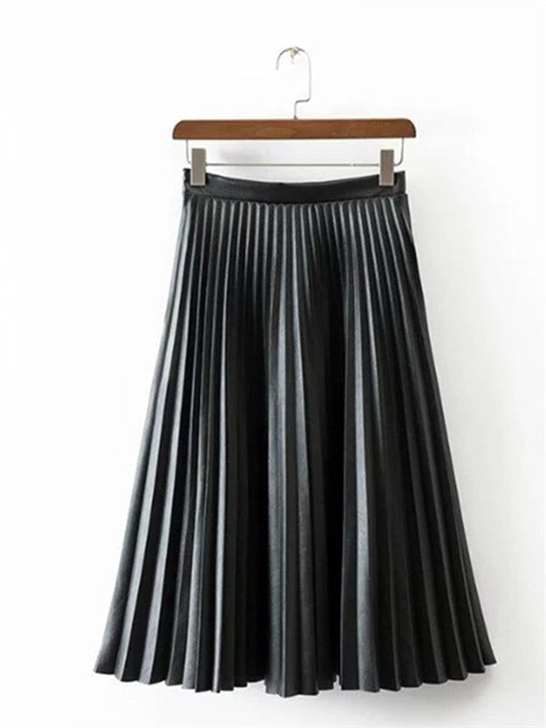 Retro Solid color PU Pleated Skirt - FIREVOGUE