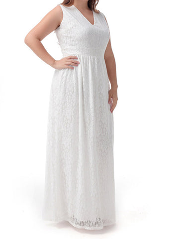 Plus Size Lace Sleeveless Dress