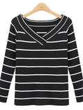 Black White Stripes Boat Neck Knitted Top - WealFeel