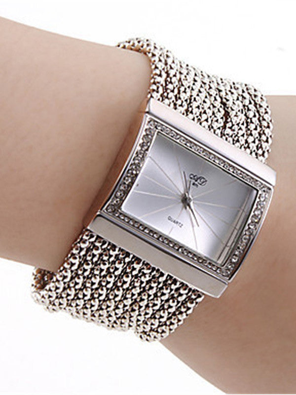 Women Crystal Square Watch