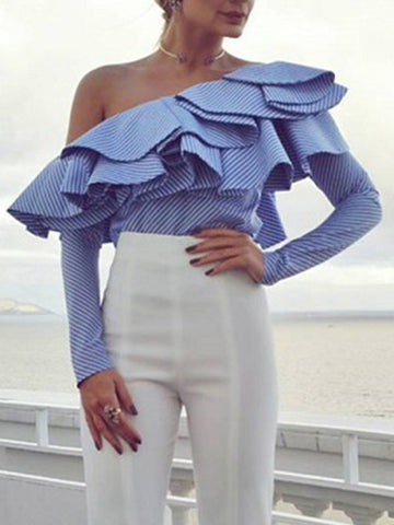 Give Em the Cold Shoulder Ruffle Top