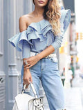 Give Em the Cold Shoulder Ruffle Top - FIREVOGUE