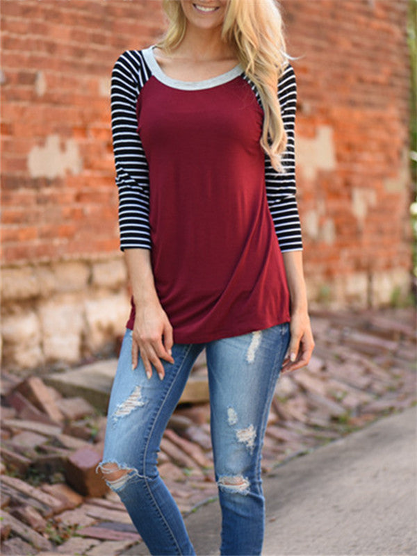 Long Sleeve Striped Round neck Top - WealFeel