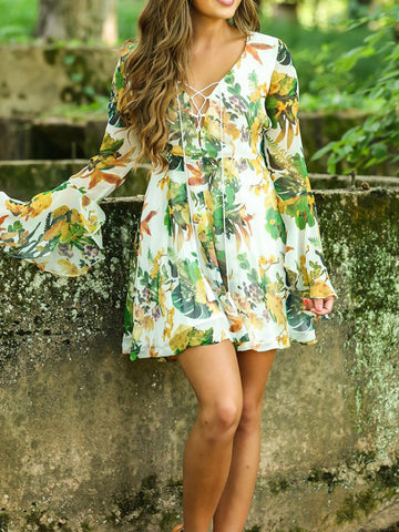 Bell Sleeve Lace-Up Floral Dress