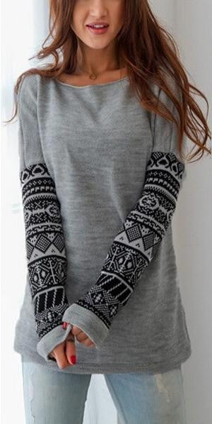 Round Neck Patterned Sleeves Top - FIREVOGUE