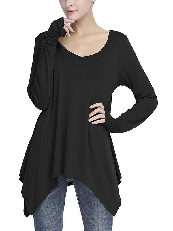 Casual V-neck Long Sleeve Loose Top