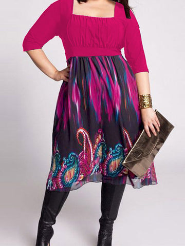 Plus Size Women Printed Dress