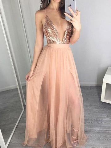 Sexy Deep V-neck Condole Belt Backless Sequined Dress