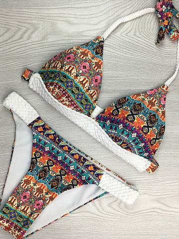 Drunk in Love Printed Halter Bikini Sets