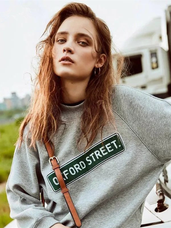 Casual Loose Gray Letters Printed Sweatshirt - WealFeel