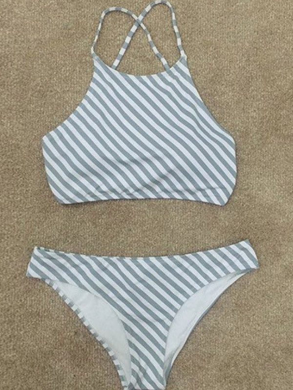 Beach Please Striped Bikini Sets - FIREVOGUE