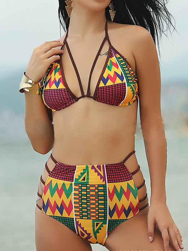 Cut-Out Of Excuses Printed Bikini Sets - FIREVOGUE