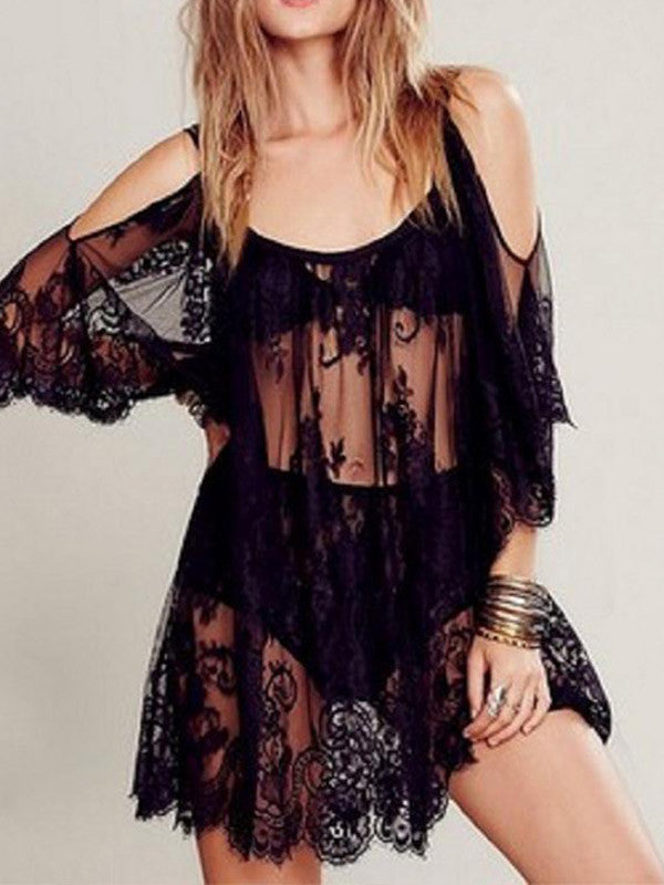 Sexy Cold Shoulder Lace Bikini Cover-up