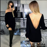 Solid Color Open Back Long Sweater - FIREVOGUE