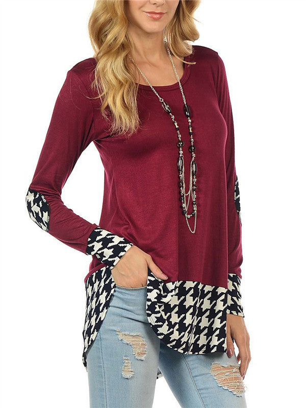 Lattice Print Long sleeves Blouse - FIREVOGUE