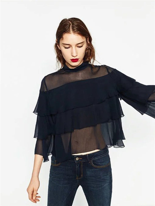 Fashionable Multi Layered Tiered Chiffon Top - WealFeel
