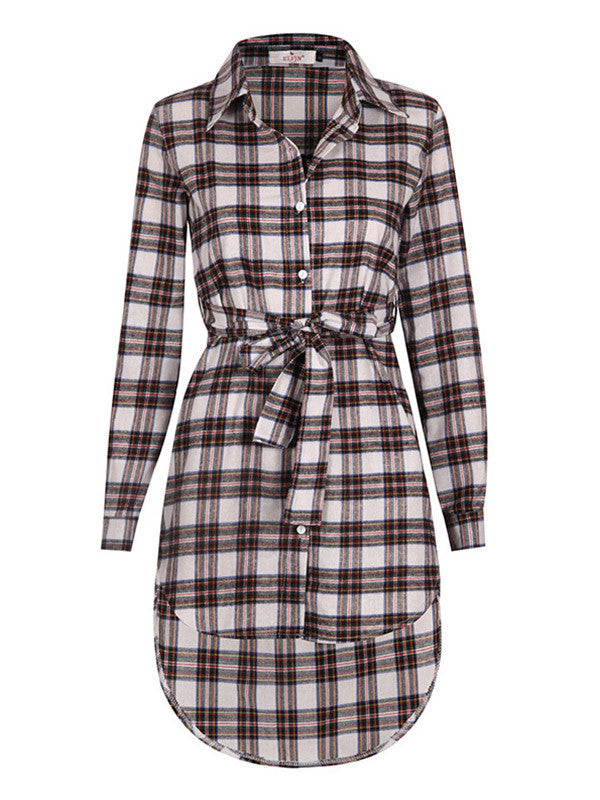 Women Casual Plaid Long Sleeve Shirt Dress