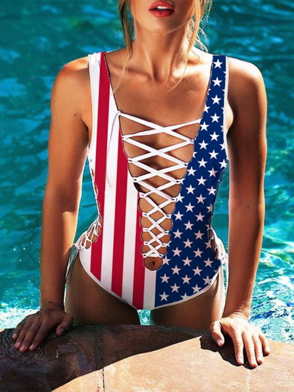One-piece USA Flag Criss Cross Swimsuit - WealFeel