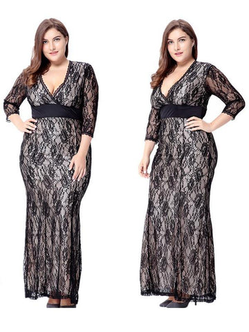 Women Long Sleeve Evening Wedding Party V-Neck Lace Maxi Dress