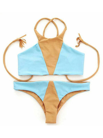 Beach Please High Neck Bikini Sets