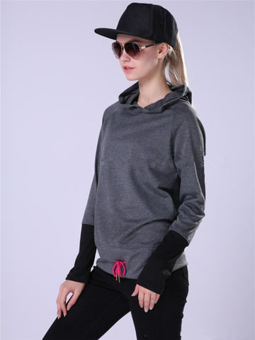 Sleeve Spliced Lacing Front Sweatshirt - WealFeel