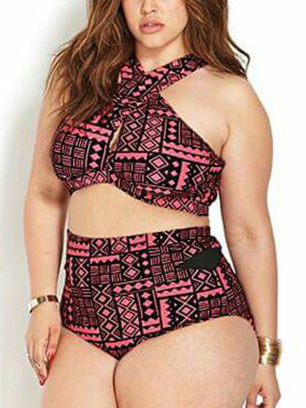Pink Geometric Cross High Waisted Bikini Sets - WealFeel