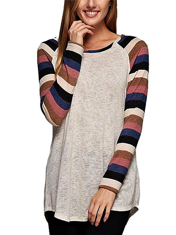 Colored Striped Long-sleeved T-shirt - WealFeel