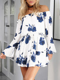 Off Shoulder Long Sleeve Floral Mini Dress - WealFeel