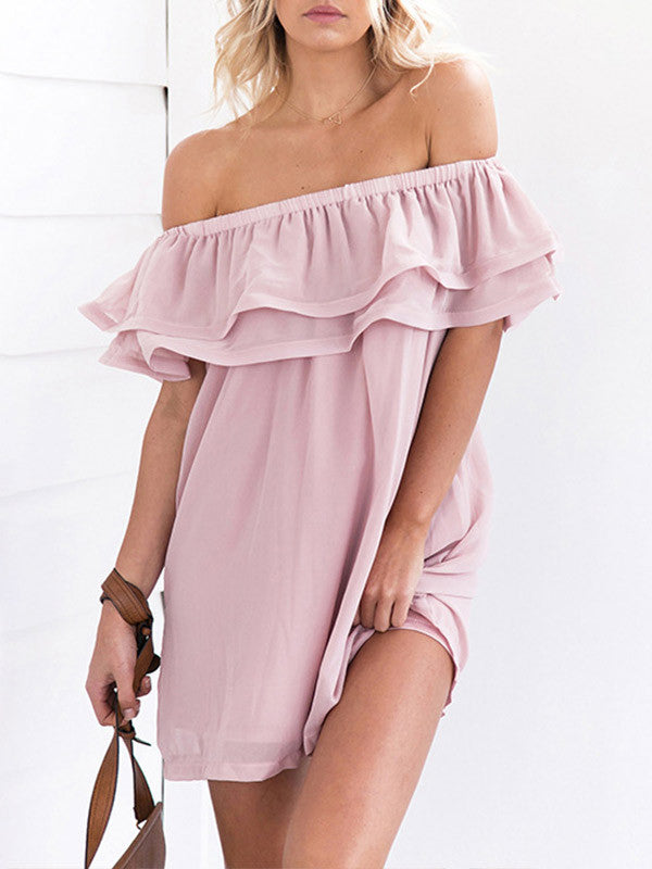 Off-the-shoulder Ruffled Loose Chiffon Mini Dress - WealFeel