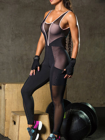 Women Sexy Sport Splicing Net yarn Rompers