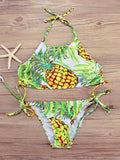 Sexy Pineapple Printed Halter Bikini Sets - WealFeel