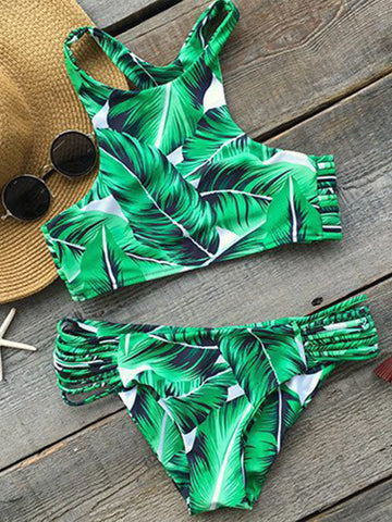 Secret Love Leaf Print Tank Bikini Sets