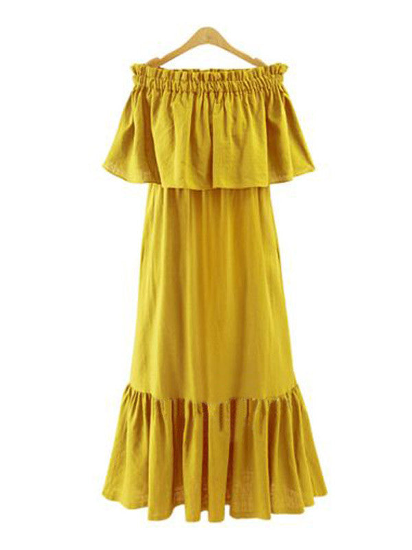 Chic Off Shoulder Ruffled Long Dress - WealFeel