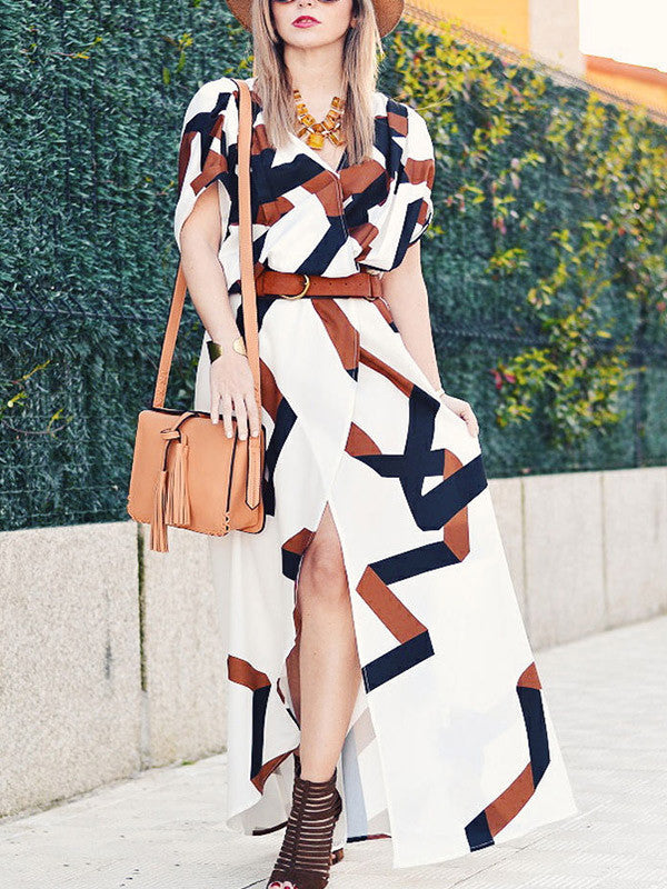 Bohemian Geometric Print Side Slit Long Dresses for Beach - WealFeel