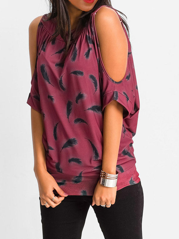 Going for Cold Shoulder Printed Top