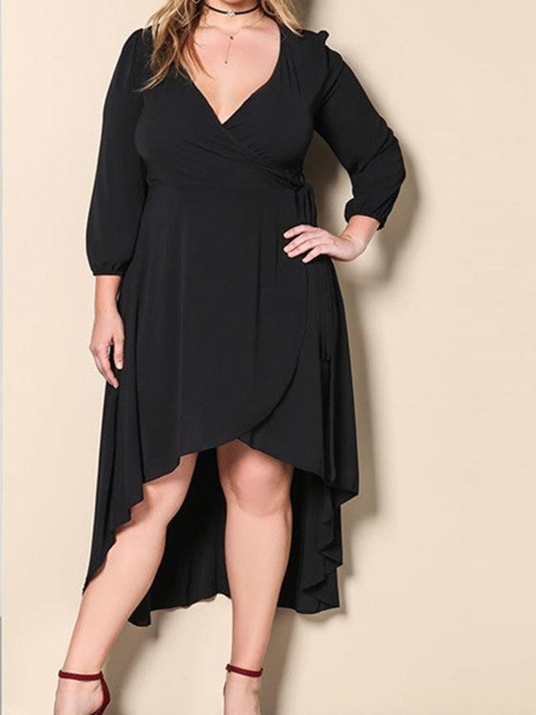 Plus Size Deep V Neck Asymmetric Dress