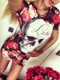Vintage Skull Rose Printed Mini Dress - WealFeel