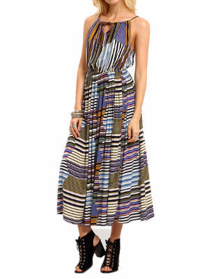 Think It Out Halter Bohemian Dress - FIREVOGUE