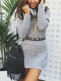 Turtle Neck Casual Sweater Dress