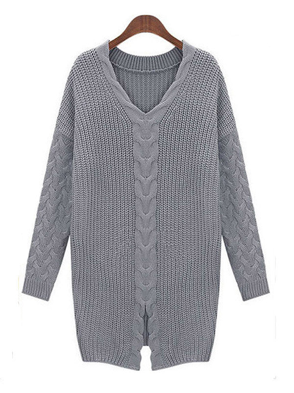 Oversized V Neck Knitted Sweater - FIREVOGUE