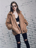 Womens Casual Solid Color Zipper Loose Jacket Coat Outwear