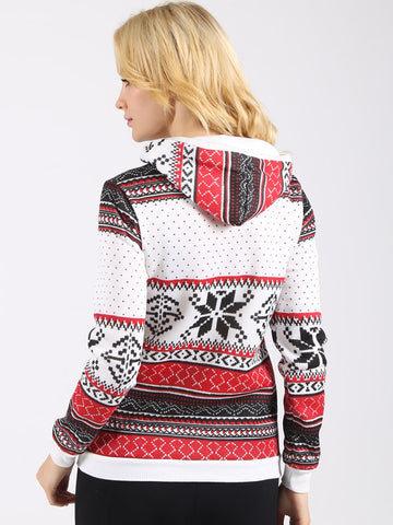 Snow Print Christmas Sweatshirt - FIREVOGUE