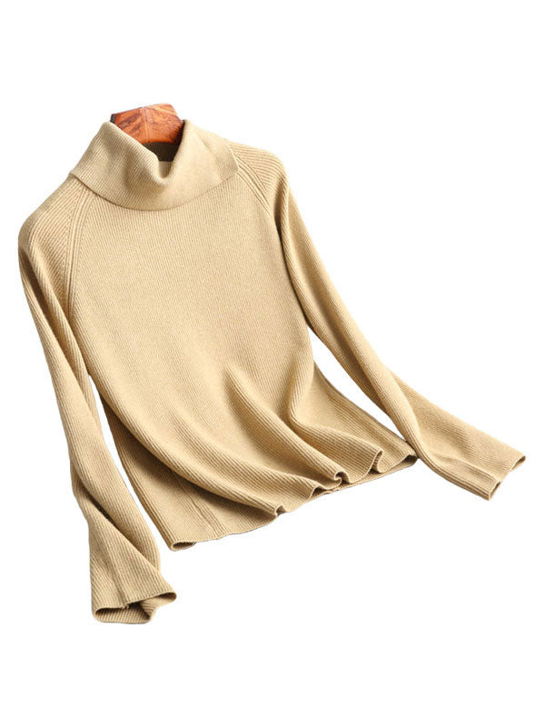 Warm Up The Chilly Season Turtleneck Slant Sweater