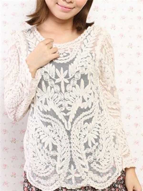 WealFeel Long Sleeve Hollow Lace Blouse - WealFeel